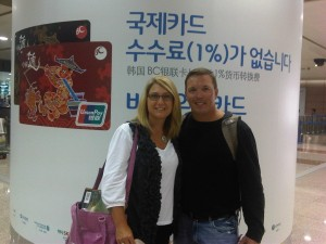 Cassandra & Keith Sanford at Airport in Shanghai, en route to Beijing