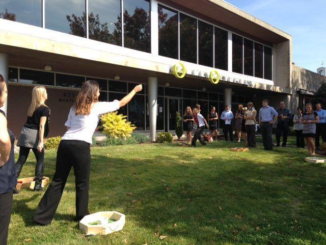 KellyMitchell employees playing washers to benefit the United Way of Greater St. Louis